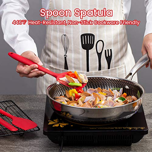 Silicone Spatula Set, Heat Resistant Kitchen Spatulas for Non-Stick Cooking and Baking, Seamless One Piece Design, Flexible Spatula, Dishwasher Safe, Rubber Spatula Set of 5 (Red)