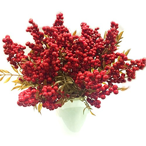 M2cbridge Artificial Red Rosehip Berries Christmas Holly Berries (Set of 4) ()
