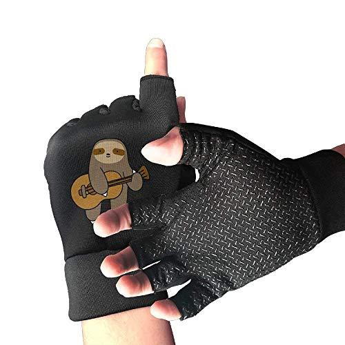 (HU MOVR Mountain Bike Shockproof Guitar Sloth 1/2 Finger Short Gloves Outdoor Sports Working Gloves)