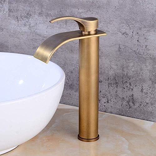 水タップアメリカンレトロブロンズウォーターウォーターバスルームホームホテル流域の蛇口ヨーロッパの模造カウンター流域の上のセクション高温と冷水の蛇口セット実用的