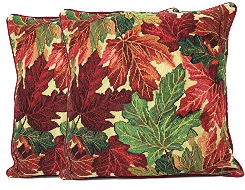 Tache Warm Tapestry Colorful Thanksgiving Leaves Fall Foliage Decorative Accent Throw Pillow Cushion Cover Set 2 Pieces