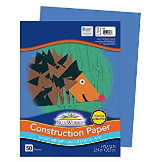 "SunWorks 7403 Construction Paper, 9"" x 12"", 50 Sheets/Pack, Blue"