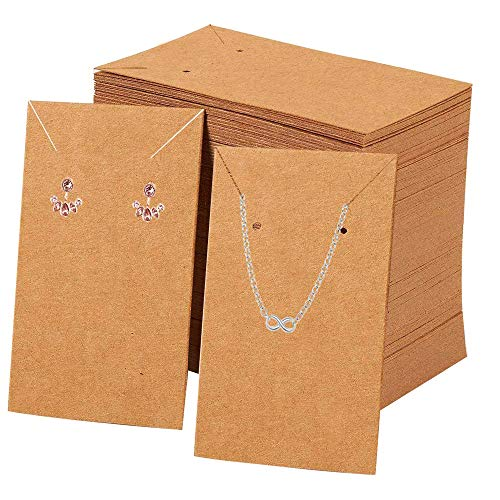 FOLAI Earrings and Necklace Display Cards with 100 Self-Sealing Bags Earring Card Holder, Earring Display Cards for Ear Studs,Earrings, Necklaces,Kraft Color, 3.5x2.4inch