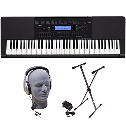 Casio Inc. WK245 PPK 76-Key Premium Portable Keyboard Package with Headphones Stand and Power Supply
