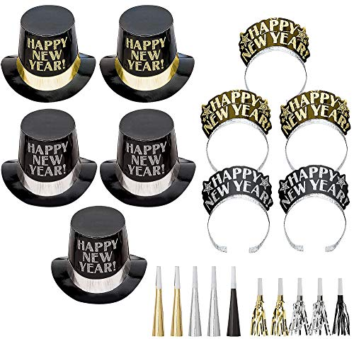 (Amscan Midnight Elegance Black, Gold and Silver New Year's Party Kit for 10, Includes Top Hats and)