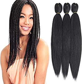 Befunny 8packs 16 Inch Pre Stretched Braiding Hair Short Black Crochet Human Hair For Braids Or Twist Itchy Free Yaki Perm Straight Low Temperature Synthetic Hair Dip in Hot Water Set Black 1B#