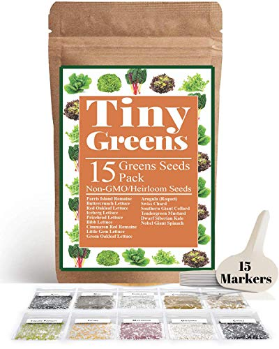 15 Heirloom Lettuce & Leafy Vegetable Seeds | 4000+ Seeds | Non GMO Bulk Lettuce Seeds for Planting - Kale, Spinach, Arugula, Oak, Romaine, Iceberg, Butter | Hydroponic, Home Garden, Indoor Outdoor (Seed Asian Lettuce)