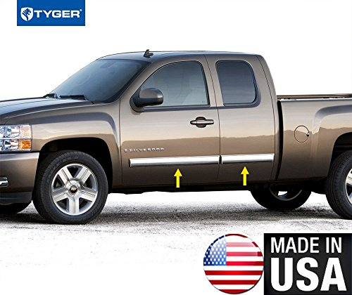 Made In USA! Works With 09-13 Chevy Silverado Extended Cab Body Side Molding Full 4.25