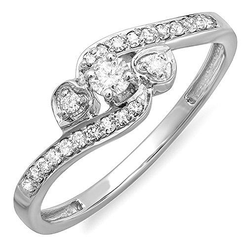 - Dazzlingrock Collection 0.25 Carat (ctw) 10k Round Diamond Ladies Bridal Promise Heart 3 Stone Swirl Engagement Ring 1/4 CT, White Gold, Size 7