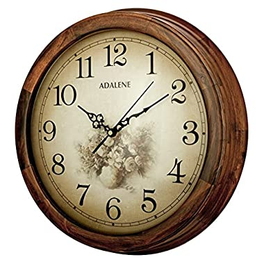 Adalene 14-Inch Wall Clock Large Decorative Living Room Clock - Battery Operated Quartz Analog Movement Wall Clock Wood Frame - Round Sepia Flower Dial with Fancy Arabic Numerals Wooden Wall Clock