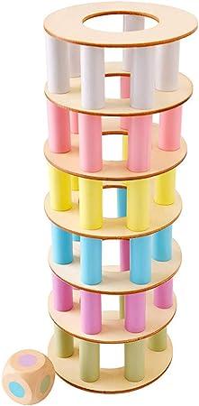FBGood - Juegos de Mesa apilables de Madera para niños – Torre de Pisa de Madera – Juguetes educativos
