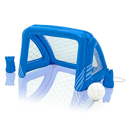 BS Ιnflatable Soccer Goal Fun Goals Water Polo Soccer Game Floating Swimming Pool Toy Inflatable Ball Anchor Bags Used on Land Too Park Fun For Family Friends & eBook by - Water Goal Polo Floating