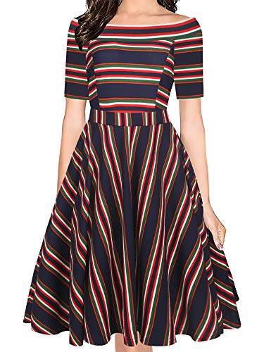 (oxiuly Women's Vintage Off Shoulder Pockets Casual Striped A-Line Party Cocktail Swing Dress OX232 (L, Blue Stripe))