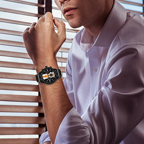 KONXIDO Mens Sports Watches Military Waterproof Big Face Analog Leather Band Wrist Watch Orange by KONXIDO (Image #3)