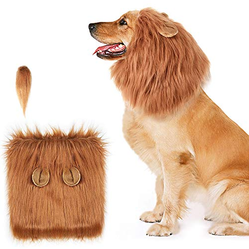AIRGOOD Dog Lion Mane, Funny Lion Mane for Dogs, Lions Mane for Dog Costumes, Lion Wig Suitable Medium to Large Sized -