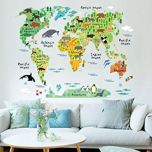 REYO Wall Stickers 1 Cent Item Animal World Map Home Decor Murals Decorative Art Removable Room Bedroom Decals (95X73CM colorful)