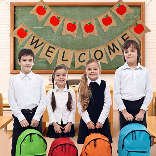 Welcome Apple - Welcome Banner and Apples Banner Garland for First Day of School Classroom Decorations Photo Prop Photo Booth Backdrop (Style C)