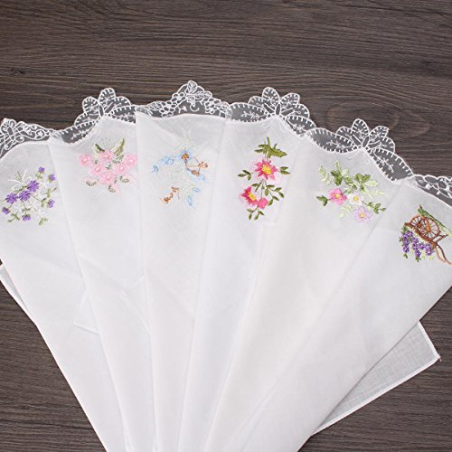 Embroidered Butterfly Lace Flower Hankies 6PCS Vintage Cotton Women Napkin Floral Assorted Cloth Portable Ladies Handkerchief