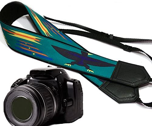 Light Weight and Well Padded Camera Strap Durable Code 00173 Camera Strap Inspired by Native American Eagle and Sun Ethnic Camera Strap Turquoise DSLR//SLR Camera Strap