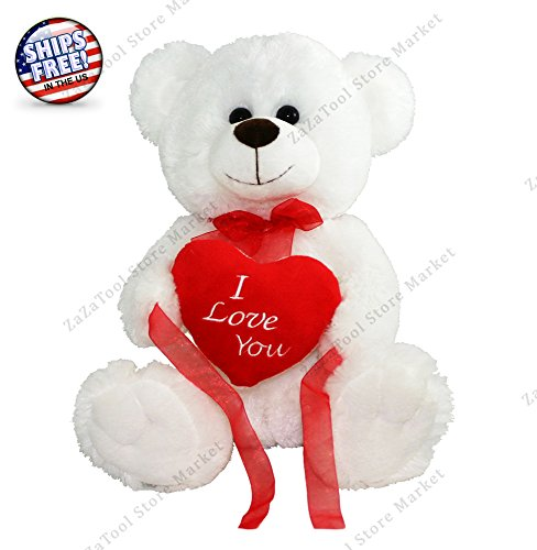 New White Teddy Bear Sitting With Heart Love You Soft Plush Valentines Day Gift - 12
