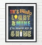 This Little Light of Mine I'm Gonna Let it Shine Matthew 5:16 Vintage verse scripture ART PRINT, UNFRAMED Christian Children nursery wall decor poster, 8x10 inches