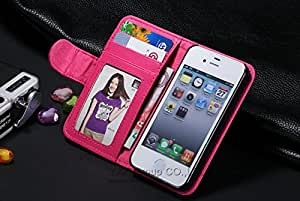 iPhone 4/4S Deluxe PU Leather Flip Open Wallet Self Stand Case with Photo & Credit Card Holders (Color: PINK)
