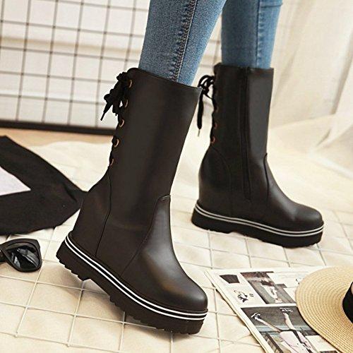 Btrada Womens Winter Mid-Calf Snow Boots plus Velvet Lace up/Zip Wedge Platform Hidden Sweet Knight Boots Black U0JhoLRl