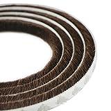 UOOOM 5m Windproof Dustproof Door Window Seal Stripl Self Adhesive Brush Strip 9x9mm (Brown)