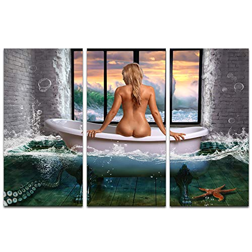 Visual Art Decor Well Design Canvas Wall Art Elegant Girl Sitting on The Bath in Fancy Sunset Sea Wave Picture Prints Decoration Bathroom Ready to Hang (01 Colorful, 48