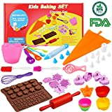 ultimate baking - Kids Cooking Baking set Baking supplies Cupcake decorating kit-40 pcs include Silicone Chocolate Molds,Cupcake cups,Cake decorating kit,Cookie Cutters,Measuring Spoons,Rolling Pin,Spatula,Whisk