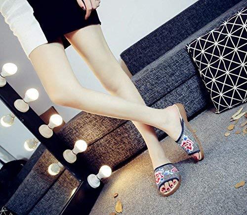 Bestickte Schuhe Sehnensohle ethnischer Stil Stil Stil weiblicher Flip Flop Mode bequem Sandalen Schwarze Esche 38 (Farbe   - Größe   -) 2deac8