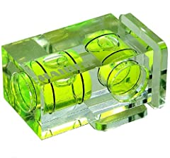 """Attaches to the camera's accessory shoe. With twin levels (yellow-green liquid) and mounting feet for landscape and portrait position. Transparent housing. Dimensions: approx. 18 x 18 x 33 mm (0.7 x 0.7 x 1.3"""") Weight: 10 g (0.35 oz.)"""