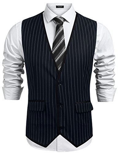 JINIDU Mens Sleeveless Slim Fit Waistcoat 3 Button Business Suit Vest]()