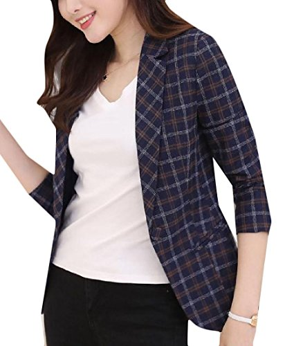 Nice Abetteric Womens Plus Size Plaid Ladies Small Blazer Casual Autumn Jacket Coat for sale