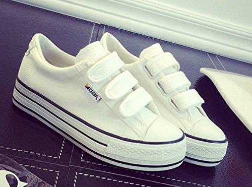 Aisun Donna Casual Comode Antiscivolo Velcro Suole Spesse Scarpe Basse Basse Piattaforma Piatta Sneakers In Tela Bianca
