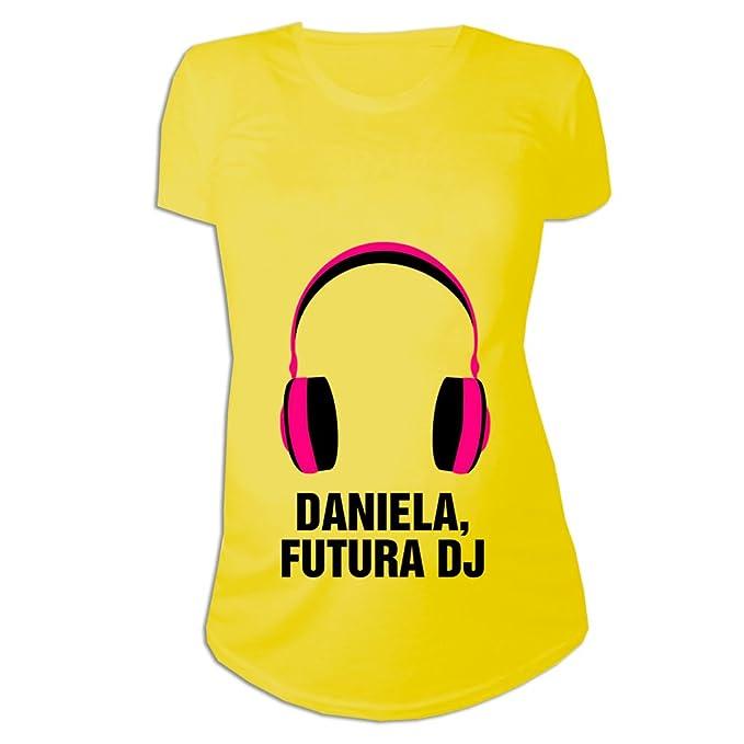 Calledelregalo Regalo Personalizable para Mujeres Embarazadas de Una Niña: Camiseta Futura DJ Personalizada