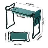 Folding Garden Kneeler and Seat with Bonus Tool Pouch, JQstar Portable Portable Garden Stool With EVA Kneeling Pad Handles (Green)