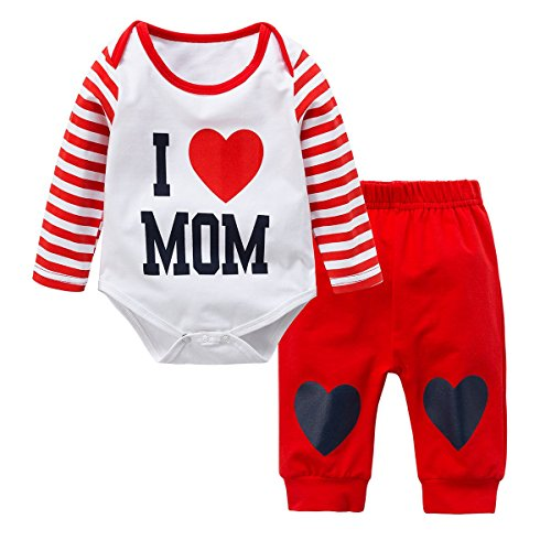 Baywell 2018 Newborn Baby Boys Girls Clothes Set, Adorable Romper Set 2Pcs Outfit Sweet Heart Print