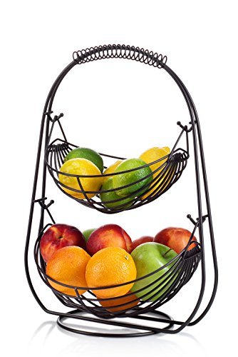 (Saganizer 2 Tier Fruit Baskets fruit basket Bronze)