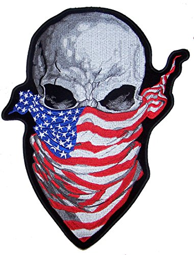 Jumbo 12 Inch USA SKULL WITH AMERICAN FLAG BANDANA biker Patch -Iron on or Sew on Embroidered Jacket Patch (Uncle Biker Sam Jacket)