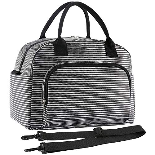 ORASANT Large& Durable Lunch Bag for Women and Men, Fashionable Black Stripes Insulated Lunch Tote with Detachable Shoulder Strap, Cooler Bag for Cold& Hot Food for Work, School, Beach, Picnic,Camping