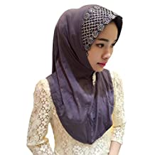 GladThink Womens Muslim Embroidered Traditional Hijab Scarf Gray