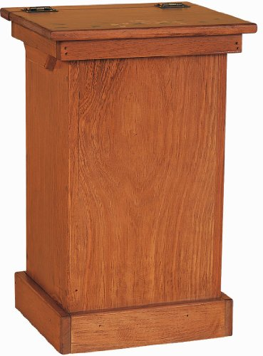 Pine Wood Lift Top Trash Bin Cabinet (Stain- Cherry) - Cherry Garbage Can
