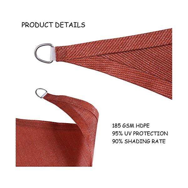 HEWYHAT Vela Telo Parasole Tenda Triangolare Ombreggiante in HDPE 3x3x3m Resistente Protezione UV 95% per Ombra Giardino Terrazzo con Aggancio Occhielli,Rust Red 3 spesavip