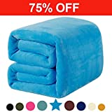 Fleece King Blanket 330 GSM Super Soft Warm Extra Silky Lightweight Bed Blanket, Couch Blanket, Travelling and Camping Blanket (Lake Blue)