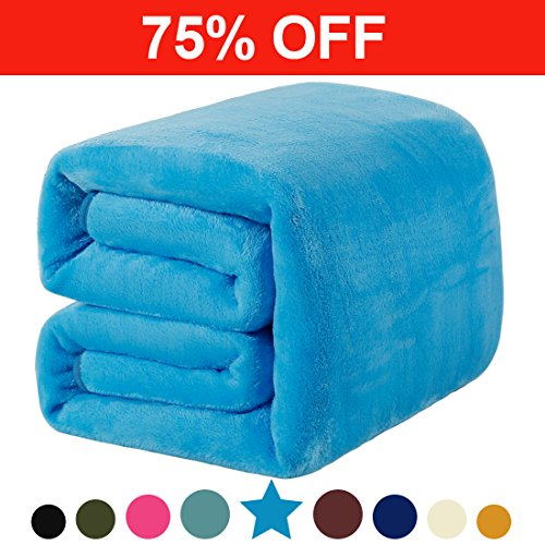 Fleece Twin Blanket 330 GSM Super Soft Warm Extra Silky Lightweight Bed Blanket, Couch Blanket, Travelling and Camping Blanket (Lake Blue) (Giants Plush Fleece)
