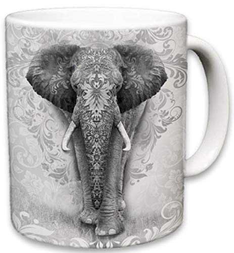 Elephant Mug | Cute Animal Ceramic Travel Mugs | Coffee Lovers Cup | Elephants Design | Great Novelty Gift | Decorative Home Kitchen Drinkwear | Multi Color | 11 Fl. Oz