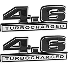 "4.6 Liter 281 Turbocharged Engine Emblems in Chrome & Black - 5"" Long Pair"