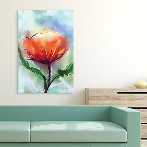Watercolor Style Abstract Red Flower