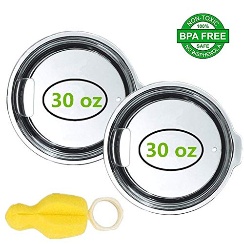 - 2 Pack Splash Resistant Clear Straw Lids for 30 oz Rtic Ozark Trail Cooler, YETI Rambler Tumbler MagSlider Replacement Lid with Bottle Brush (3.65 inch-30/32 oz)